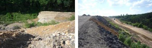 Stav zemních prací úpravy povrchu motolských skládek – v blízkosti trasy V3