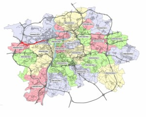Průchod trasy BR městskými částmi
