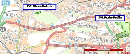 EVL Obora Hvězda a EVL Praha-Petřín v posuzovaném území